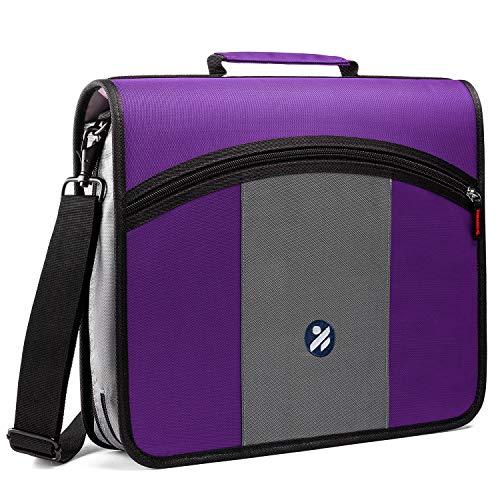 Kinbashi 3-Inch Zipper Binder, Round Ring Binder with Expanding Files, Handle and Shoulder Strap, Purple (Zip Binder For School)