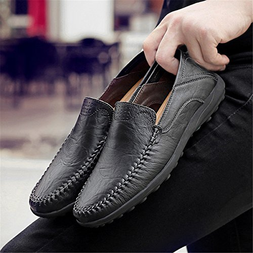 Fashion Shoes Black Driving Men's for Loafers 1 Genuine On Slip Casual Casual Men Moccasins Leather vqO8twq