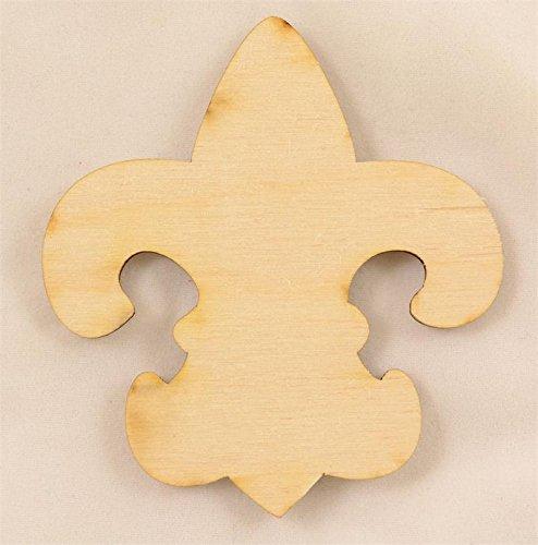 Package Of 10, Simple Fleur De Lis Wood Cutout 2.75