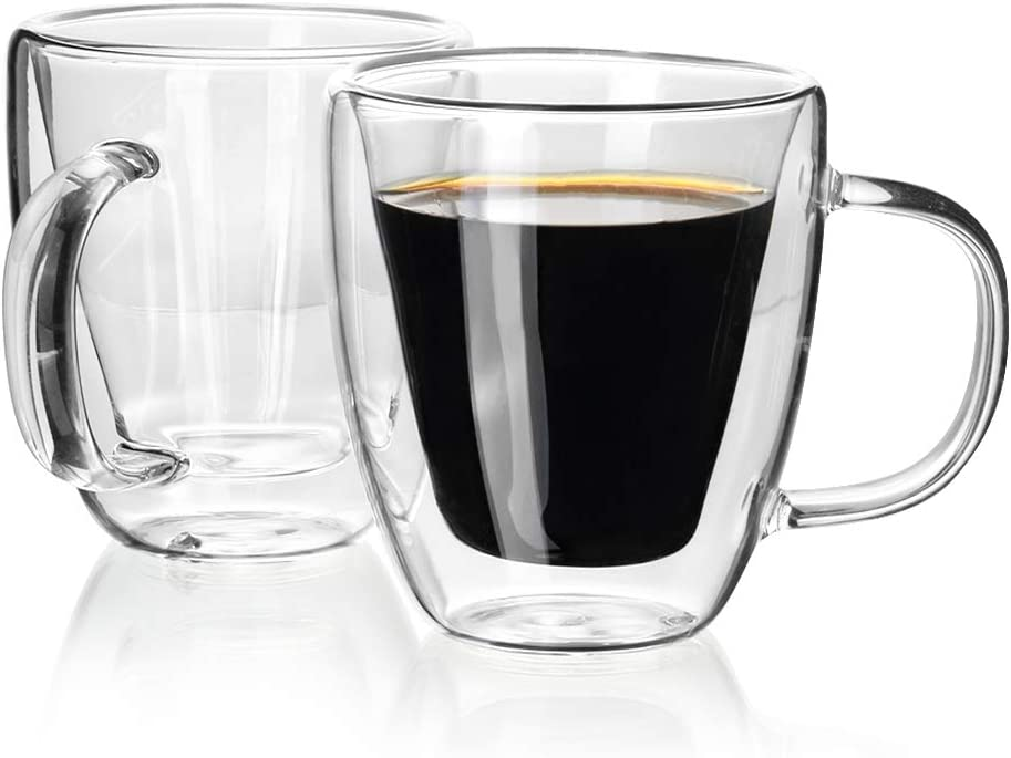 Enindel Double Wall Insulated Glasses Espresso Mugs, Coffee Cup, 5.4 OZ, Set of 2
