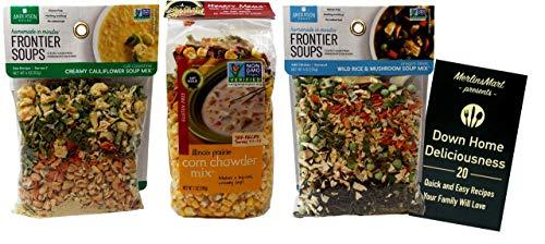 Frontier Soups Gluten-Free Soup Mix 3 Flavor Variety Plus Recipe Booklet Bundle, 1 each: Creamy Cauliflower, Corn Chowder, Wild Rice Mushroom (4-7 Ounces)