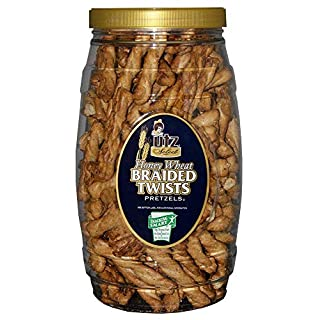 Utz Honey Wheat Braided Pretzel Twists – 26 oz Barrel – Sweet Honey Taste, Thick, Crunchy Pretzel Twists, Perfect for Dipping and Snacks, Zero Cholesterol Snack Food