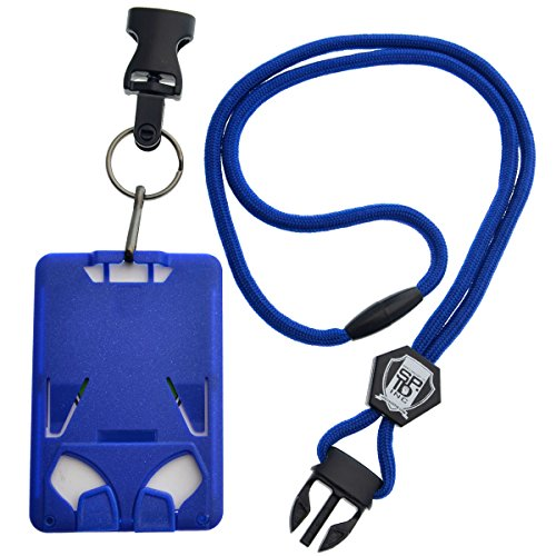 Top Loading THREE ID Card Badge Holder with Heavy Duty Lanyard w/ Detachable Metal Clip and Key Ring by Specialist ID, Sold Individually (One Holder / 3 Cards Inside) (Royal Blue) Photo #4