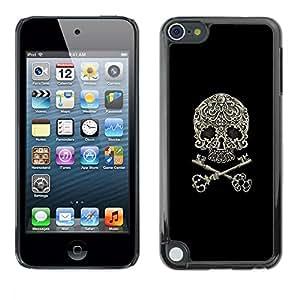 Eason Shop / Premium SLIM PC / Aliminium Casa Carcasa Funda Case Bandera Cover - Cráneo llave simbólica del motorista Negro floral; - For Apple iPod Touch 5
