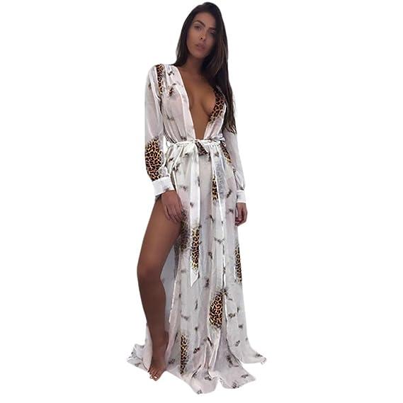 Sexy Vestido Bikini Cover-up Mujer Verano 2018, Sonnena Mujeres Bikini Cover-up Manga Larga Multicolor Vestido de Playa Transparente Chiffon Blusa para Sexy ...