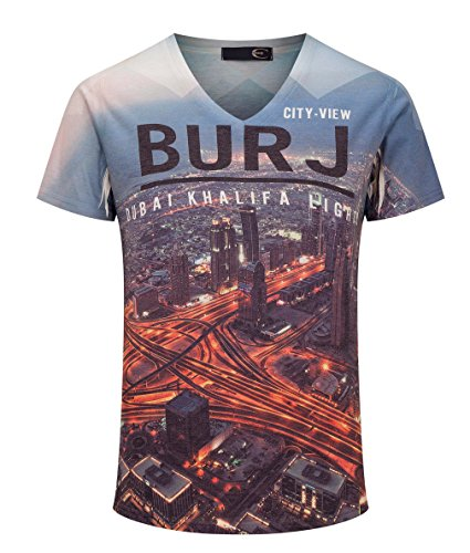 Men's 2017 Modern 3D DUBAI KHALIFA City View Printed Slim Fit Sleeves T Shirt L (City View Shirt)