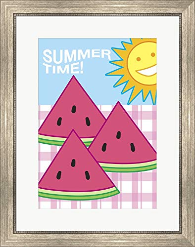 SummerFlag Watermelon Summer 3 by Jerry Gonzalez Framed Art Print Wall Picture, Silver Scoop Frame, 22 x 27 inches ()