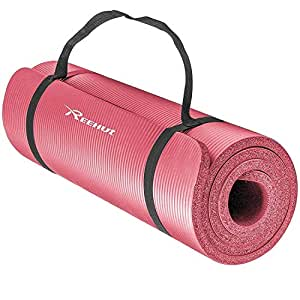 Reehut 1/2-Inch Extra Thick High Density NBR Exercise Yoga Mat for Pilates, Fitness & Workout w/Carrying Strap - Pink