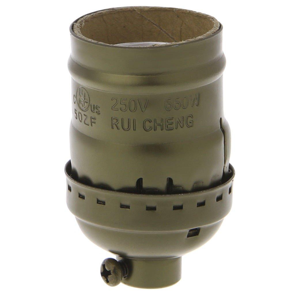 Bronze E26/E27 Aluminum Retro Vintage Light Bulb Lamp Holder Socket Base Without Switch