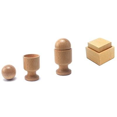 QLL Montessori 3D Object Fitting Exercise Beech Wood Material Toys for Children Kids Teaching Aids Toy Educational Baby 8-16 Month: Toys & Games