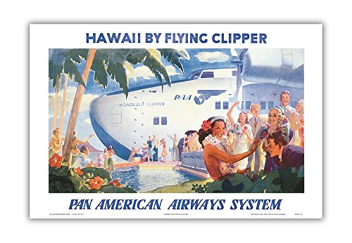 Hawaii by Flying Clipper - Pan American Airways System (PAA) - Honolulu Clipper Boeing 314 - Vintage World Travel Poster by Paul George Lawler c.1940s - Hawaiian Master Art Print - 12 x 18in ()