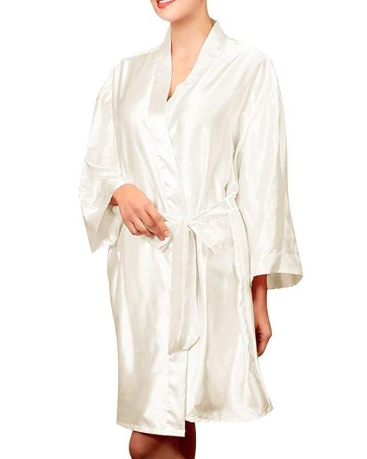 Señoras Mangas Largas Kimono Bata Negligee Noche De Encaje Clásico Suelto Cálido Sheer Corto Camisón Pijama