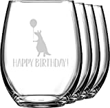 Animal Friend Birthday Wine Glasses (Stemless- Set of 4) (Personalized)