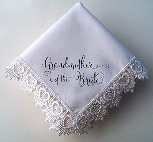 Grandmother of the Bride Wedding Handkerchief, Hearts Lace Hankie with Printed Calligraphy Script
