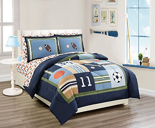 MK Home 5pc Twin Size Comforter Set Sport Navy Blue Green White Orange Brown Boys/Teens Football Basketball Baseball Soccer New