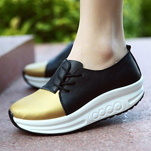 Running 34 Outdoor de Sneakers Haut Baskets JRenok 40 Femme Cuir Multisport Mode Antidérapantes Sport Lacet Casual Or Chaussure UwWgqY
