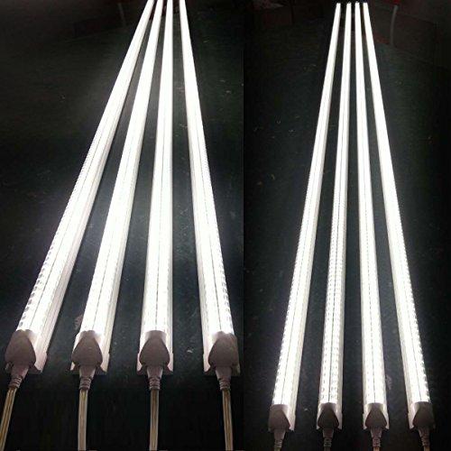 Byingo 2-Row V-Shape 4ft 36W 6000K T8 LED Integrated Single Fixture Tube Shop Light Garage Light 4300 Lumens Super Brightness Clear Cover Daylight White AC 100-277V, 8-Pack by Byingo (Image #5)