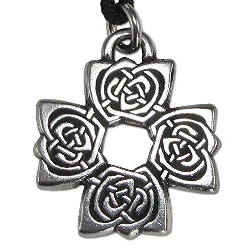(Pewter Rose Cross Irish Celtic Knot Pendant Necklace)