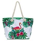 Leisureland Large Beach Tote Bag, Top Zipper Boat Bag (Flamingo Style #2)