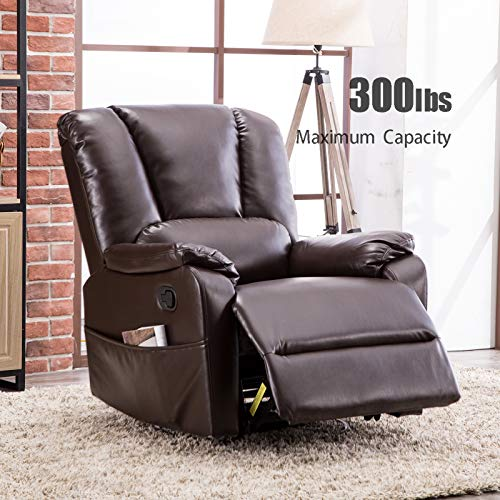 (ANJ Swivel Rocker Recliner Chair with Breathable Bonded Leather, Single Sofa Chair with Padded Seat, Living Room Reclining Chair Home Theater Seating, Brown)