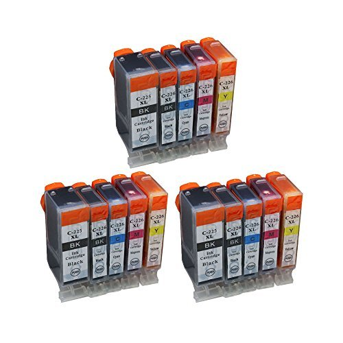 Compatible Ink Cartridge Replacement for Canon PGI-225 for MX882 MG8220 MX892 MG6220 (3 Big Black, 3 Small Black, 3 Cyan, 3 Magenta, 3 Yellow) 15-Pack
