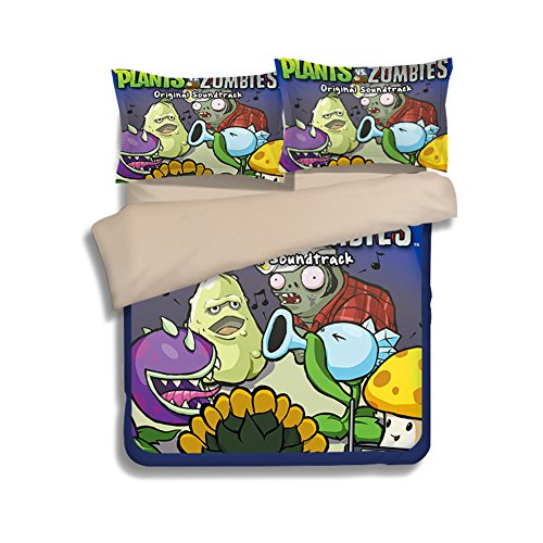 Plants VS. Zombies Bedding Sets - Sport Do Best Gifts for Game Funs 100% Polyester Skinclose Fitted Sheet 4PC Full