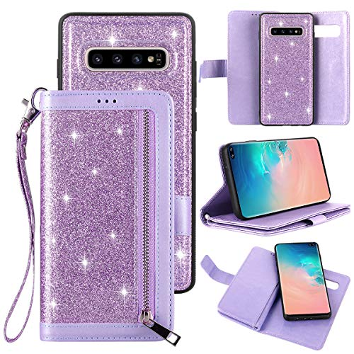 Petocase Compatible Galaxy S10 Plus Wallet Case,Luxury Bling Classy Leather Folio Flip Wristlet Shockproof Protective ID Credit Card Slots Holder Carrying Cover for Samsung Galaxy S10 Plus-Purple