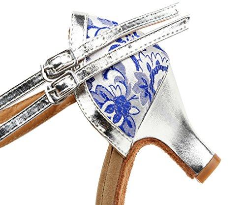 Scarpe Da Ballo Modello Da Esibizione Di Salsa Latino Bachata Con Cinturino Alla Caviglia Da Donna Bianco