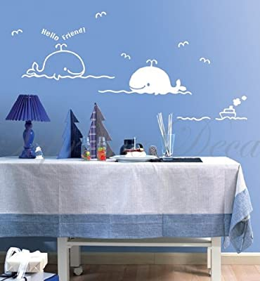 Whale friends - Beautiful Tree Wall Decals for Kids Rooms Teen Girls Boys Wallpaper Murals Sticker Wall Stickers Nursery Decor Nursery Decals