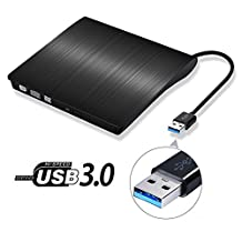 YouFu USB 3.0 Portable DVD Drive Burner, External Slim USB 3.0 DVD +/-RW Burner Writer DVD CD ROM Drive for Windows 10 Laptop, Desktops, Apple Mac Macbook Pro(Black)