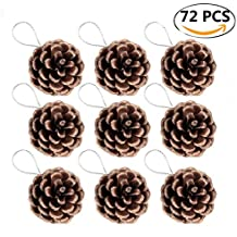 Coxeer Pine Cones, 72Pcs Christmas Hanging Pinecone Ornaments Xmas Tree Ornaments Party Supplies
