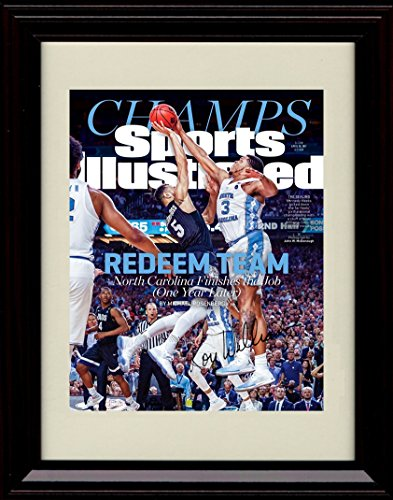 Framed Unc Tar Heels 2017 National Champs  Sports Illustrated Autograph Replica Print   Meeks Block