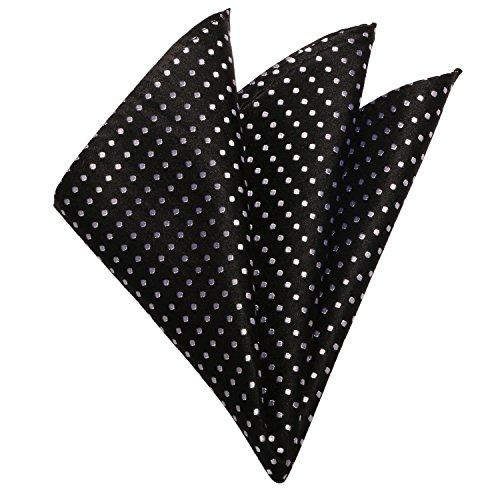 Polka Landisun Tie Cufflinks Silk Dots Various Set Mens Black Tie Hanky CCArw5nqFW