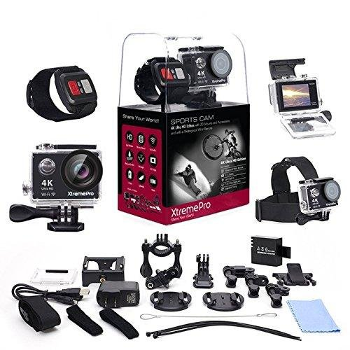 XtremePro 4K Ultra HD Sports Camera Bundle with Wireless Wrist Remote and 20 Accessories Included, Black by XtremePro