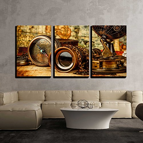 wall26 - 3 Piece Canvas Wall Art - Vintage Grunge Still Life. Vintage Items on Ancient Map. - Modern Home Decor Stretched and Framed Ready to Hang - 16