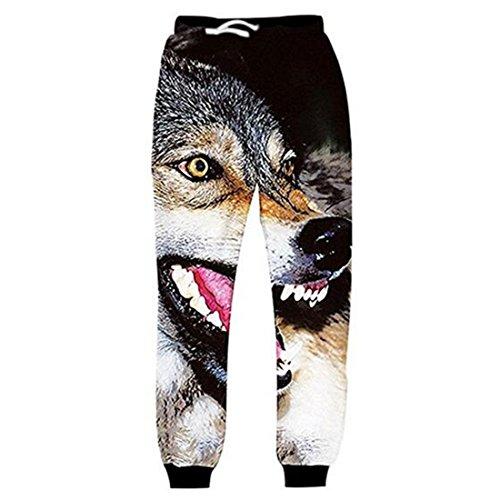 ADREAMONE Women Men 3d Digital Wolf Graphic Jogger Pants Ptined Cool Animal (Animals Womens Sweatpants)