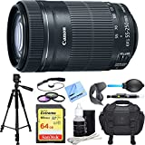 Canon EF-S 55-250mm f/4-5.6 IS STM Lens (8546B002) Deluxe Accessory Bundle includes Lens, 64GB SD Memory Card, Tripod, 58mm Filter Kit, Lens Hood, Bag, Cleaning Kit, Beach Camera Cloth and More