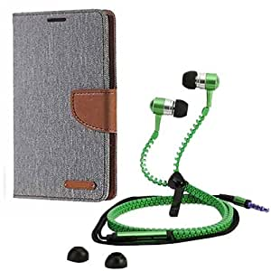 Aart Fancy Wallet Dairy Jeans Flip Case Cover for NokiaN520 (Grey) + Zipper Earphones/Hands free With Mic *Stylish Design* for all Mobiles- computers & laptops By Aart Store.