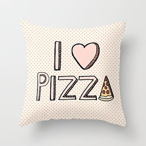Amazon Com Cute I Love Pizza Polyester Throw Pillow Covers Decorative Accent Pillows Pillow Case 16 X 16 Cushion Covers Home Kitchen