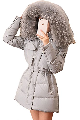 Queenshiny New Style Women's Down Coat with Raccoon Collar with Hood-Light Blue-M(8-10) by Queenshiny