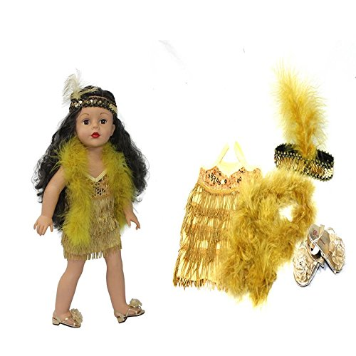 (Arianna Roaring 20's Gold Flapper Costume Complete Set - Sequin Gold Dress - Headband - Boa - Gold Dress Shoes | Fits American Girl 18 Inch Dolls & Other 18