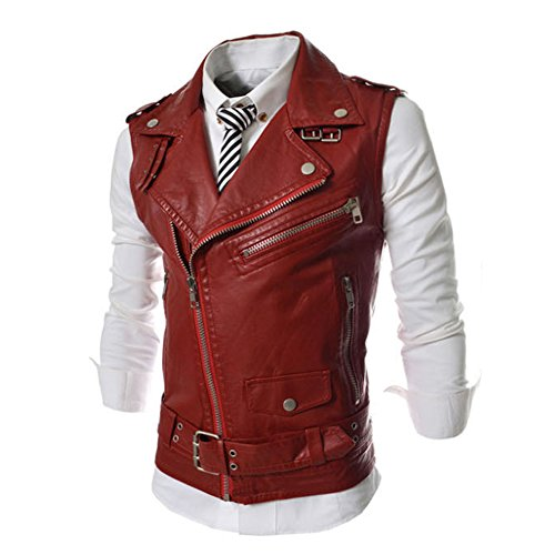 Price comparison product image Verypoppa Men's Vest Lapel Multi-Zip Belted PU Biker Waistcoat Sleeveless Jacket (US XXS / Asian Tag M, Red)