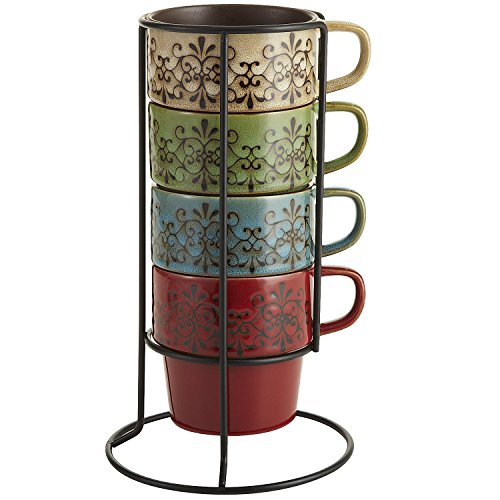 Multicolor Scroll Stacking Coffee Mugs Teacup Set with Stand by Pier 1 Imports