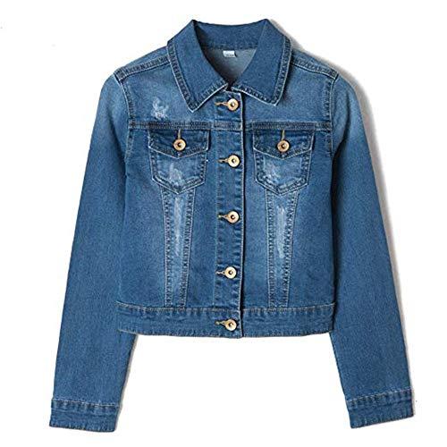 YUKE Girl's Denim Jacket Kid Embroidered Hole Denim Jacket Female Denim Clothing Coat 9-15 Age (Blue, 9-10 Years/Reference Height 22/140) ()