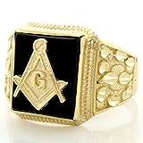 14k Solid Gold Onyx Masonic Diamond Cut Mens Ring