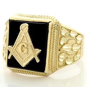 14k Solid Gold Onyx Masonic Diamond Cut Mens Ring|Amazon.com