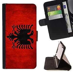 Momo Phone Case / Flip Funda de Cuero Case Cover - Nacional bandera de la nación País Albania; - HTC One Mini 2 M8 MINI