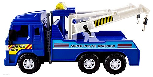 (Big-Daddy Medium Duty Friction Powered Super Police Wrecker Tow Truck Blue Truck Holiday Toy truck)