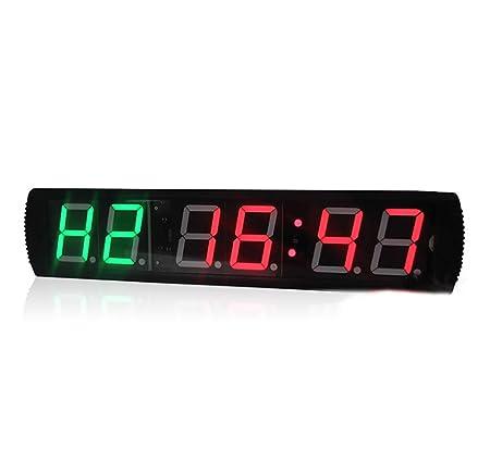 MYLEDI 4 Pulgadas Reloj Digital Pared Reloj Grande De La Pared del LED con Múltiples Alarmas Calendario Temperatura Luz De Noche Cuenta Regresiva Controlador para Boxeo De Yoga De Gimnasio,Green+Red: Amazon.es: Hogar