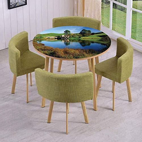 (VAMIX Round Table/Wall/Floor Decal Strikers/Removable/Hobbit Land Village House by Lake with Stone Bridge Farmhouse Cottage New Zealand/for Living Room/Kitchens/Office Decoration)